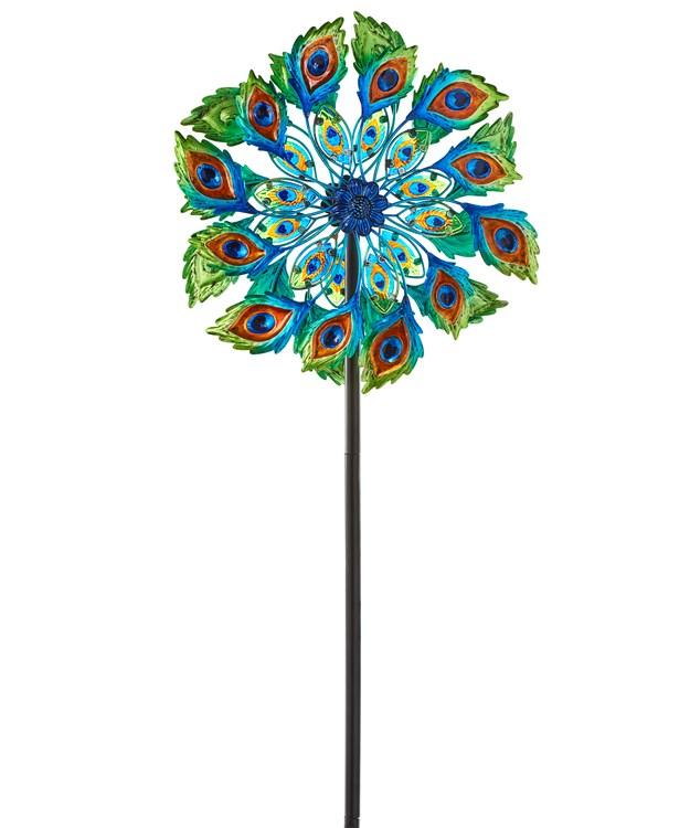Peacock Feather Design Garden Stake Spinner