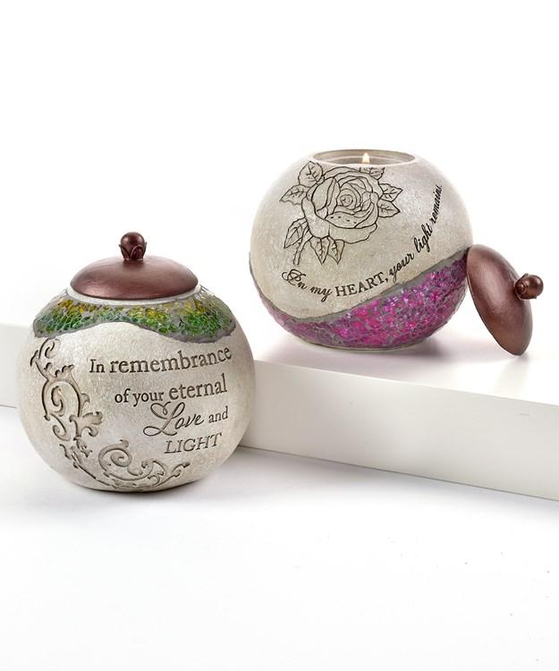 Mosaic Jar Design Tealite Candle Holders, 2 Asst.