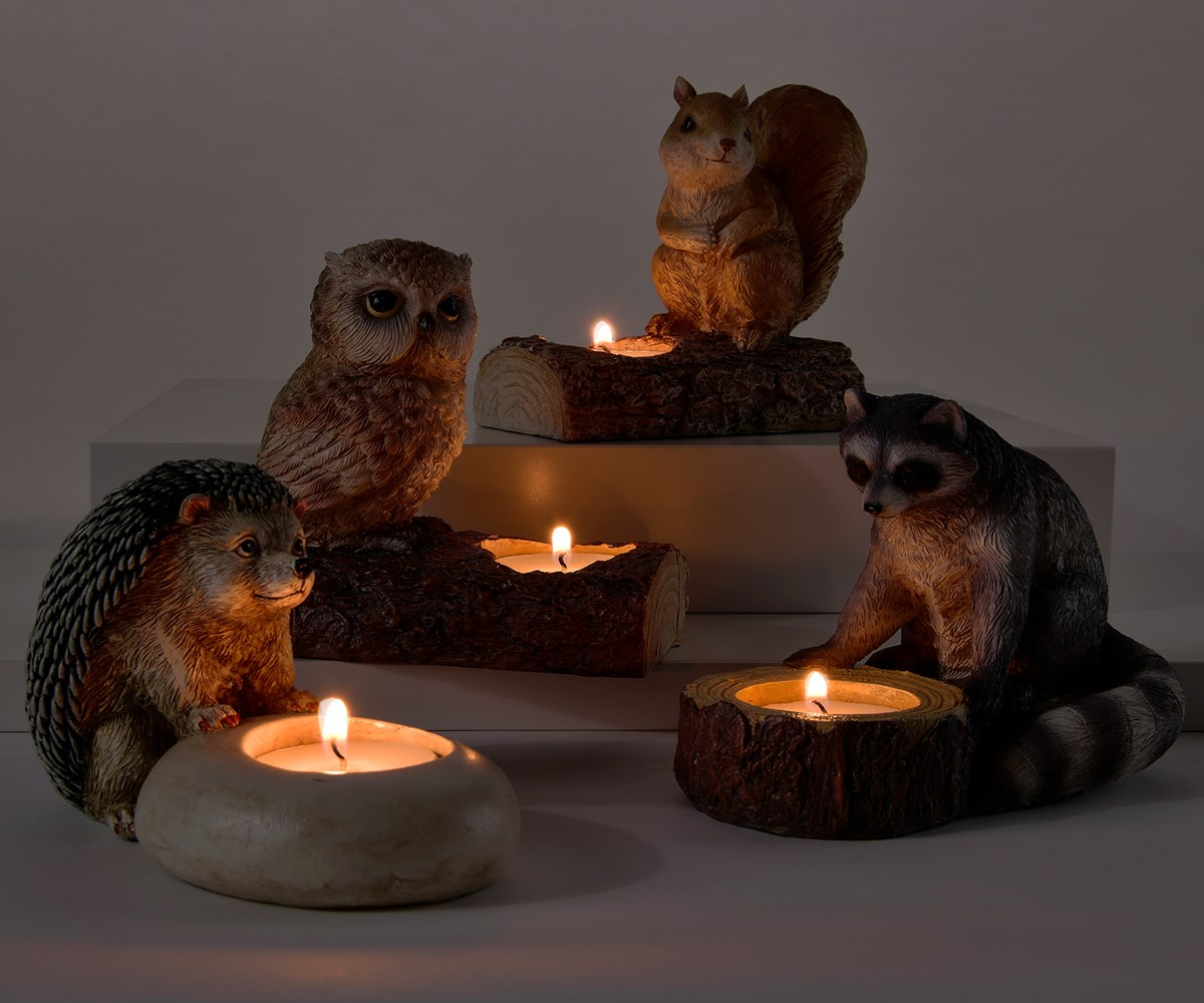 Forest Animal Design Votive Candle Holders, 4 Asst.