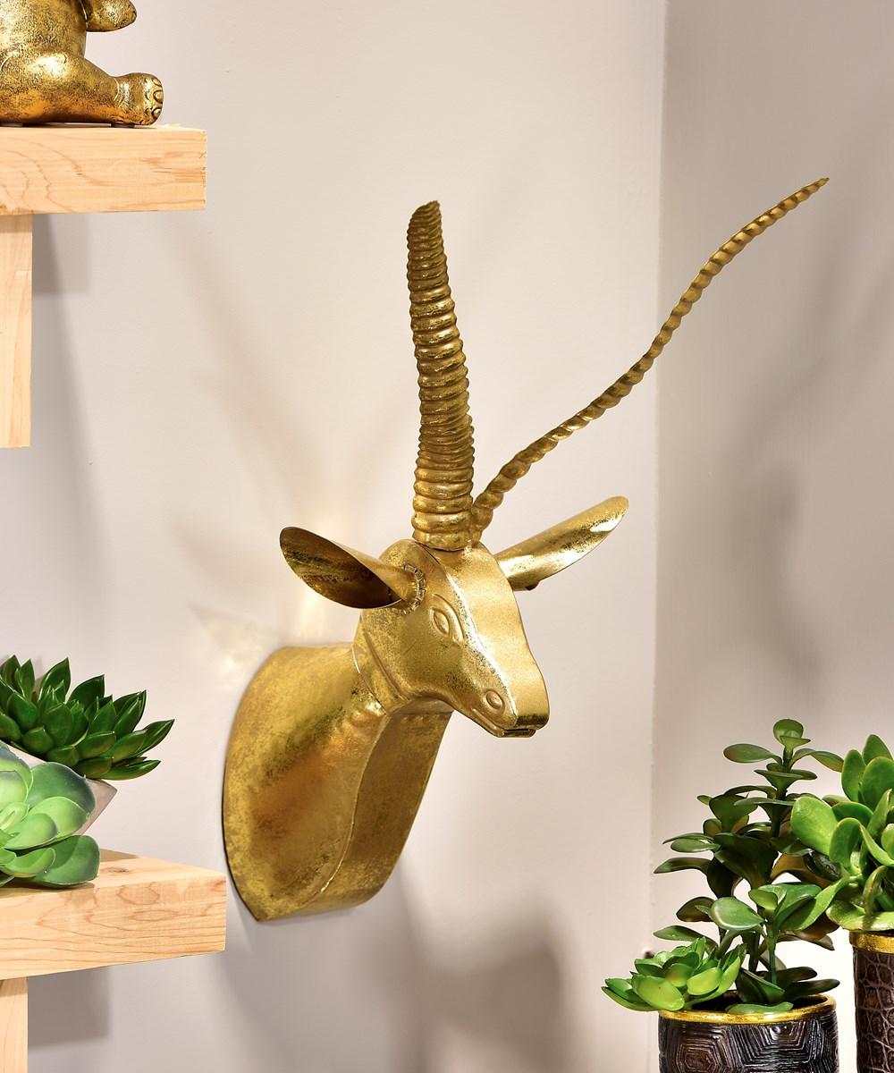 Metal Antelope Head Design Wall Decor
