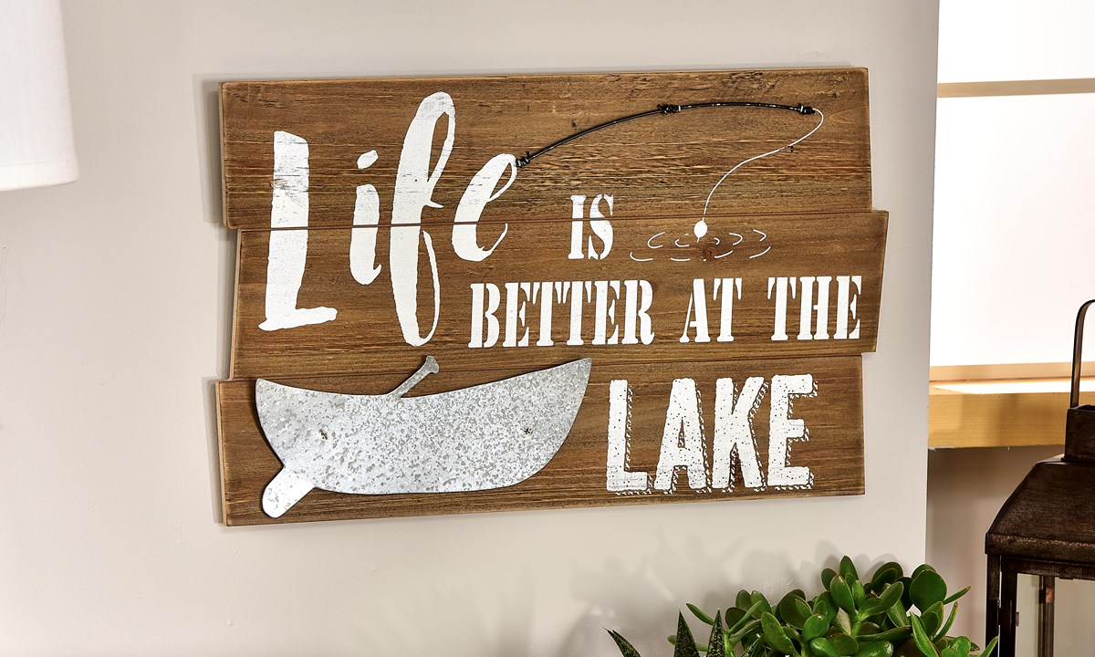 MDF & Metal Lake Sentiment Design Wall Plaque