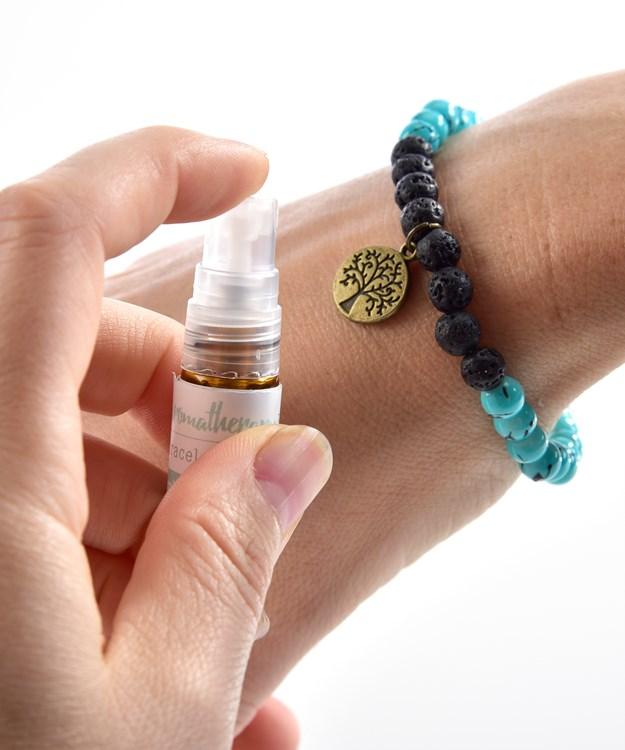 Lava Stone Bracelet w/Oil, 4 Asst. w/Displayer