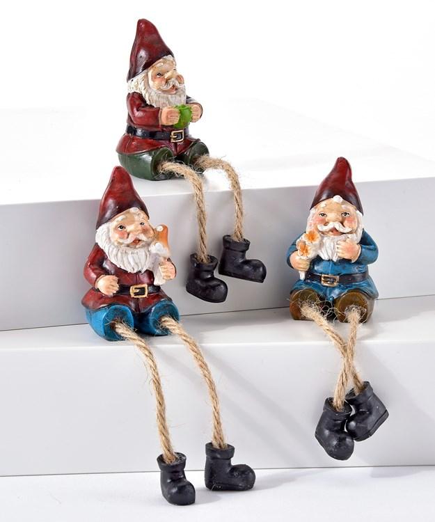 Gnome Design Shelf Sitters, 3 Asst.