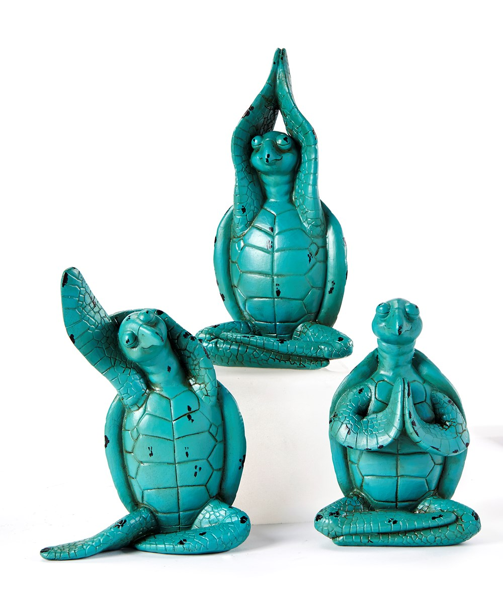 Yoga Turtle Design Figurines, 3 Asst.