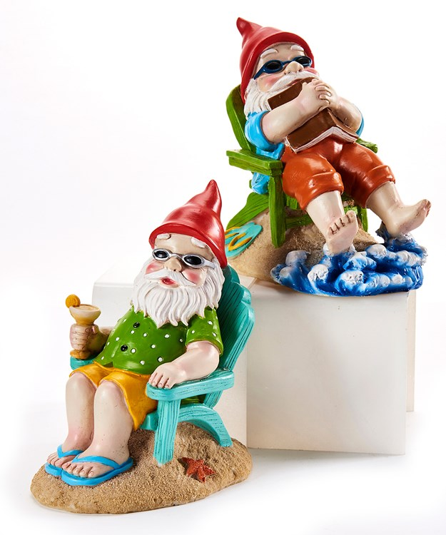 Relaxing Gnome Design Figurine, 2 Asst.