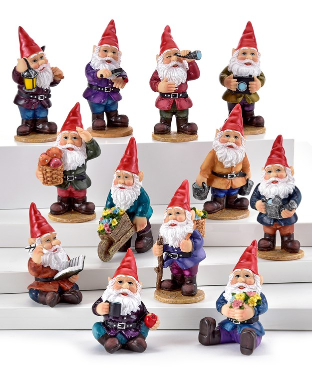 Gnome Design Figurines, 48 Pieces w/Displayer