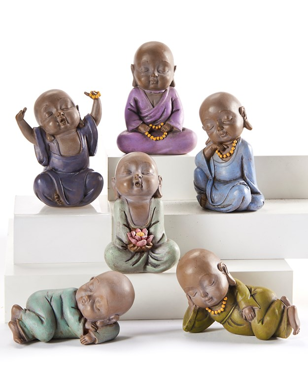 Baby Buddha Design Figurines, 6 Asst.