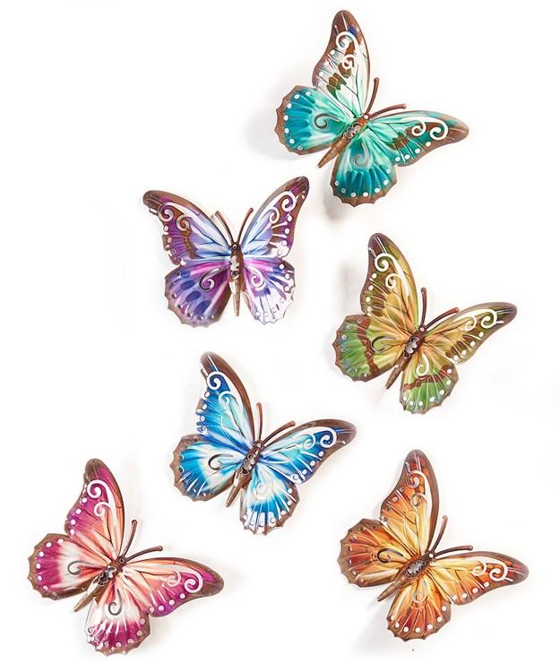 Butterfly Design Wall Plaque, 6 Asst.
