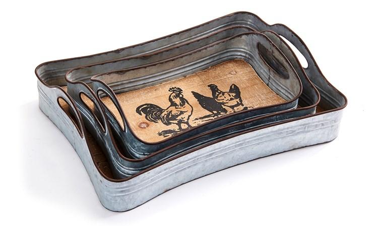 Farm Animal Design Tray, Set/3