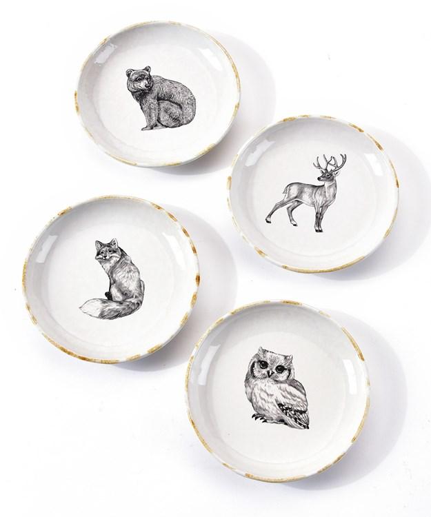 Forest Animal Design Plate, 4 Asst.