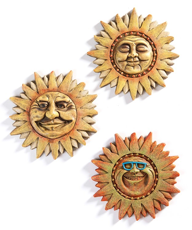 Sun Design Wall Plaque, 3 Asst.