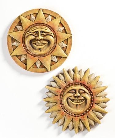 Smiling Sun Design Wall Plaque, 2 Asst.
