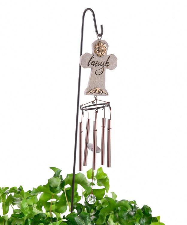 Mini Cross Design Windchime w/Garden Stake, 8 Asst.