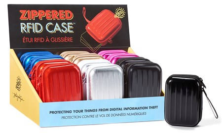 RFID Zippered Case w/Strap, 6 Asst. w/Displayer
