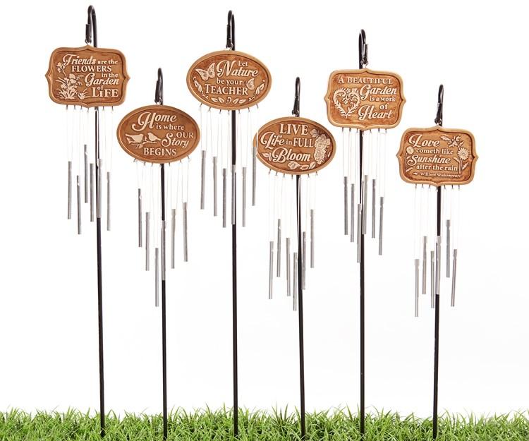 Bronze Sign Design Windchimes w/Plant Pick, 6 Asst.