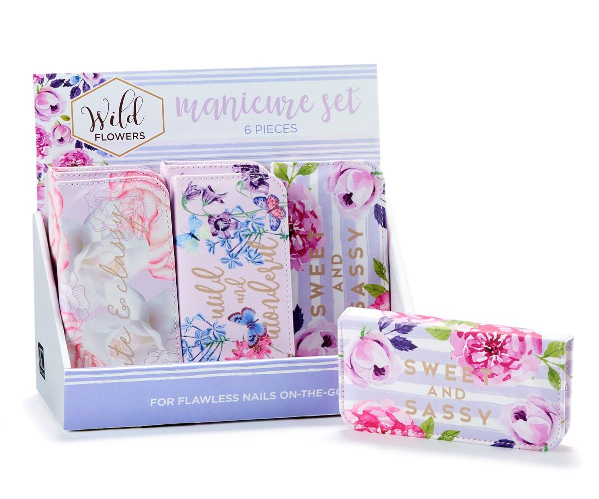 Floral Manicure Set w/Displayer, 3 Asst.