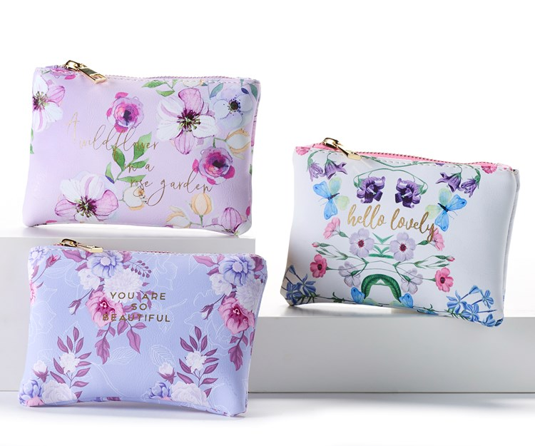 Cosmetic Pouch w/Displayer, 3 Asst.
