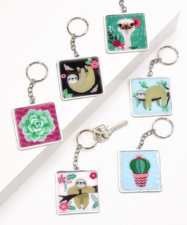 Wild and Free Keychains w/Displayer, 6 Asst.