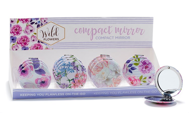 Wild Floral Compact Mirror w/Displayer, 4 Asst,
