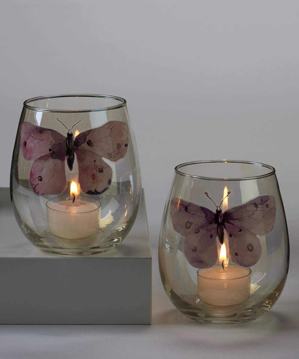 Butter Fly Deisgn Candle Holder, 2 Asst.