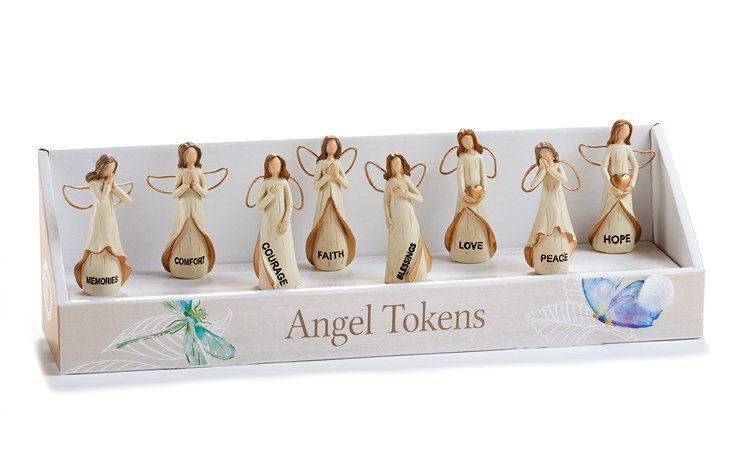 Memorial Collection, Miniature Angel Figurine Asst. w/ Displayer