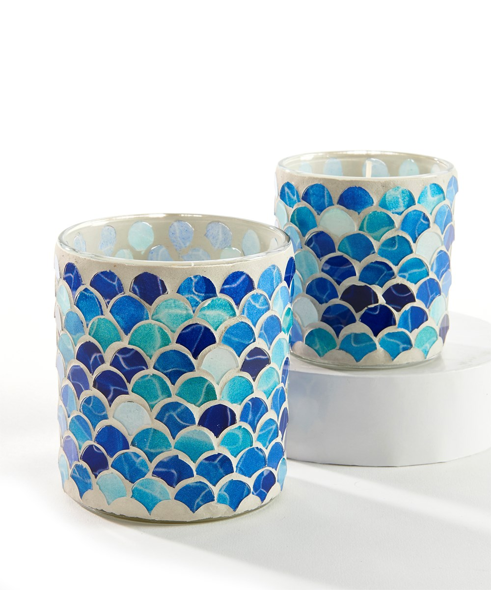 Mosaic Glass Candle, Set/2