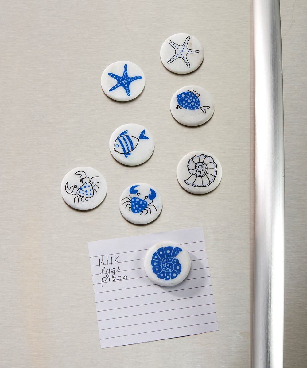 Painted Marble Magnets w/Displayer, 8 Asst.
