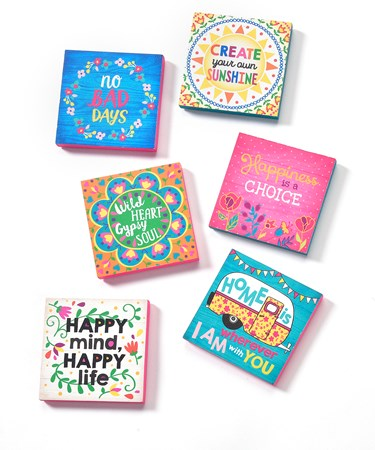 Live Happy, Block Design Magnets, 6 Asst.