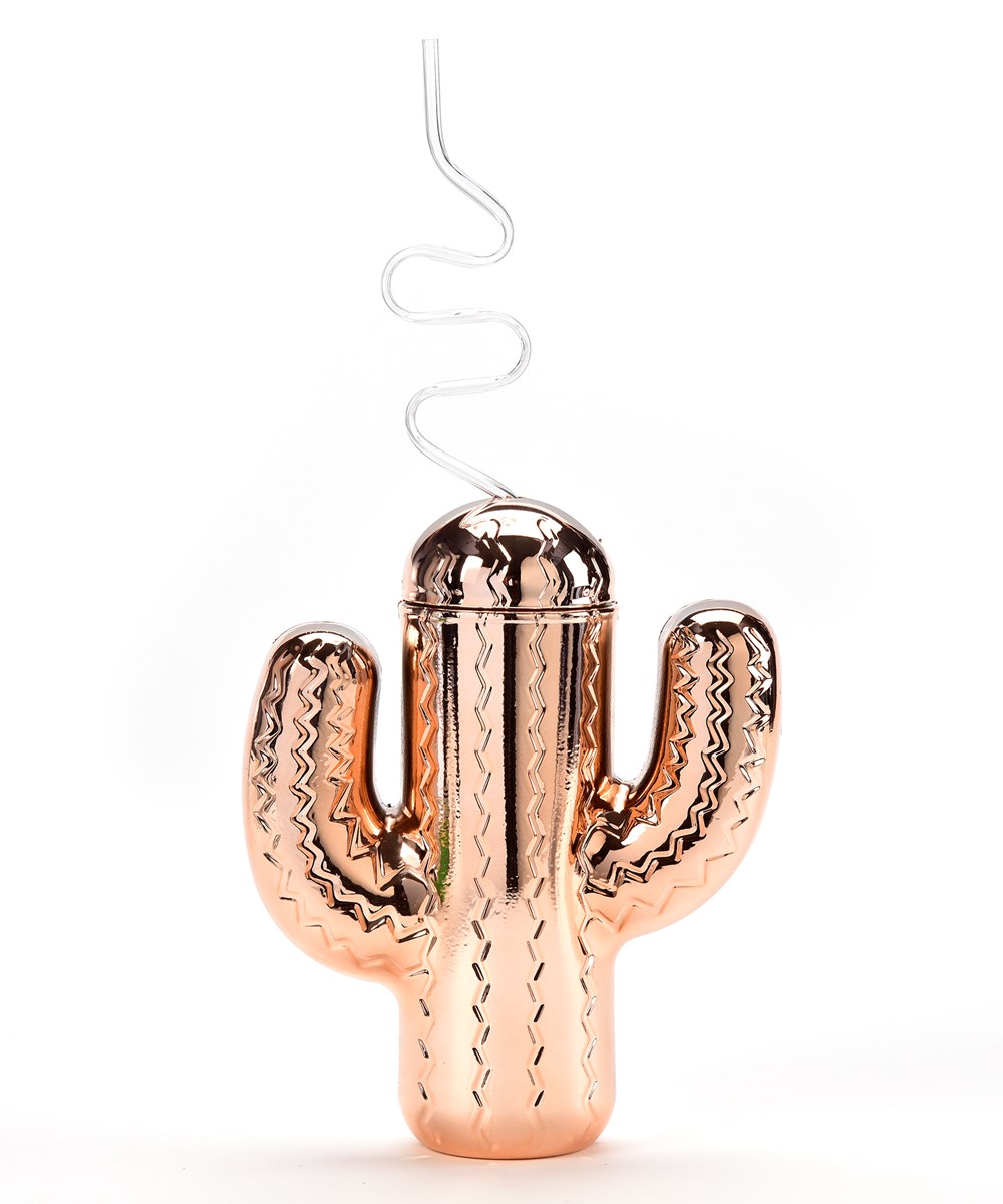 Gold Cactus Straw Cup