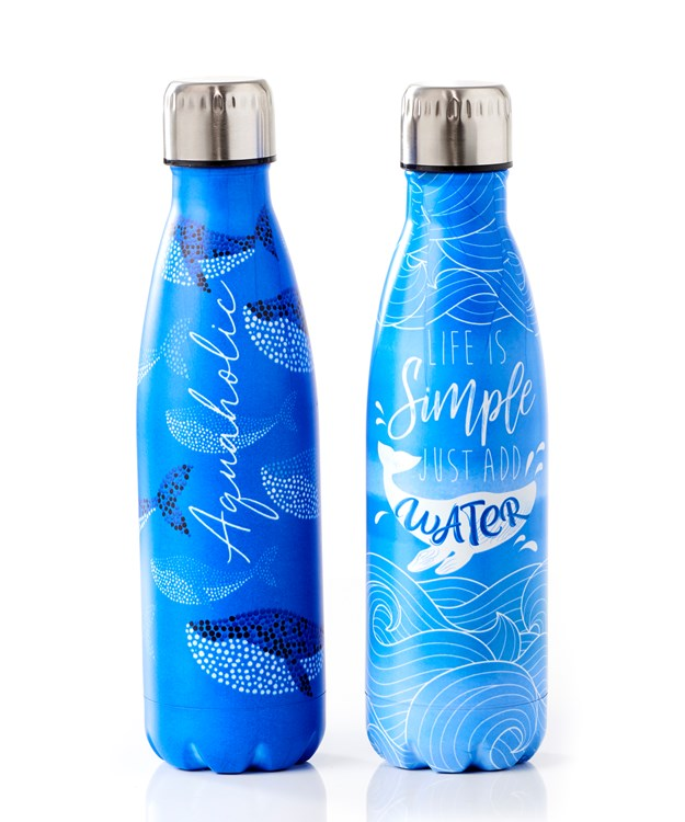 Steel Double Wall Water Bottle, 2 Asst.