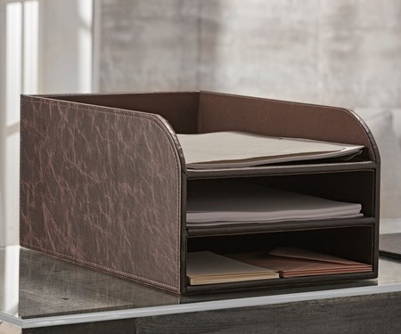 Faux Leather File Tray with 3 Slots
