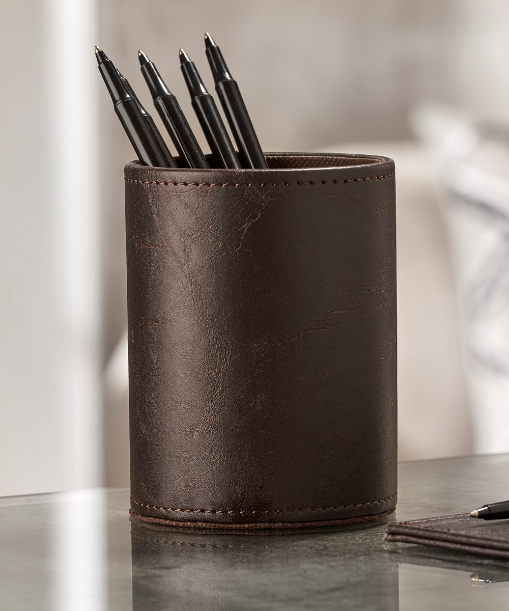 Faux Leather Pen Holder