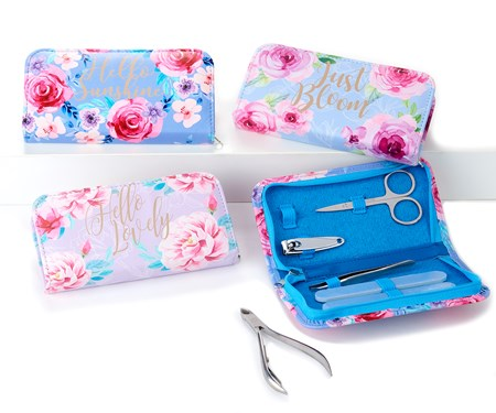 Floral Design Manicure Set, 3 Asst. w/Displayer