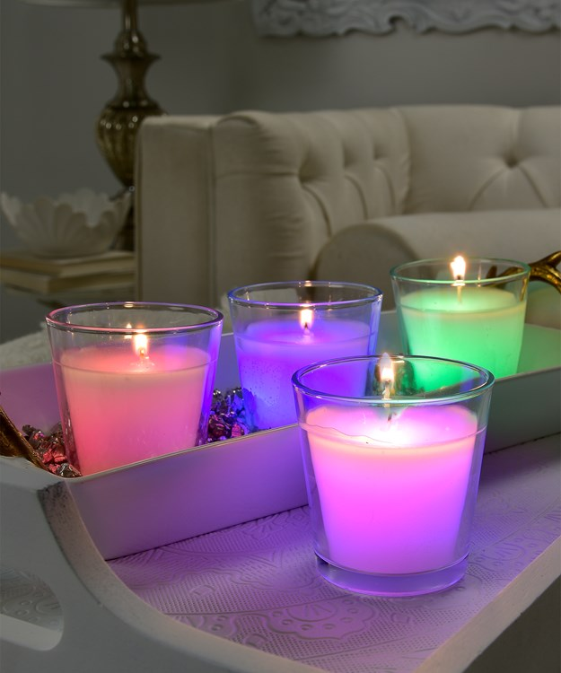 Paraffin Color Changing Votive Candle Asst. w/ Displayer