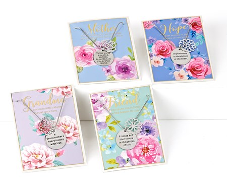 In Full Bloom Sentiment Necklaces w/Displayer, 4 Asst