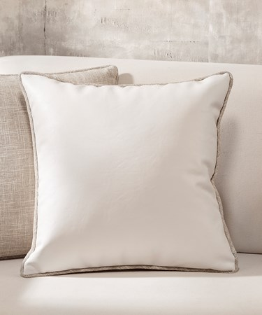 White Faux Leather Pillow