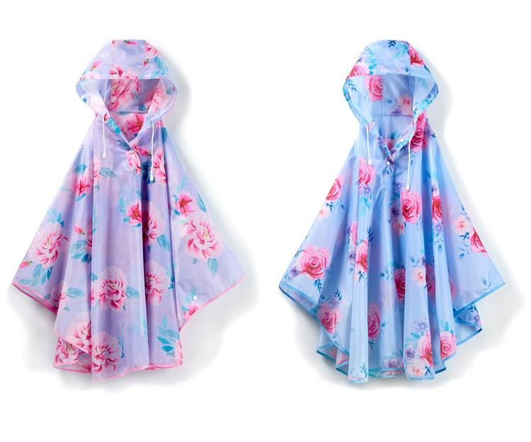 Floral Design Rain Poncho, 2 Asst.
