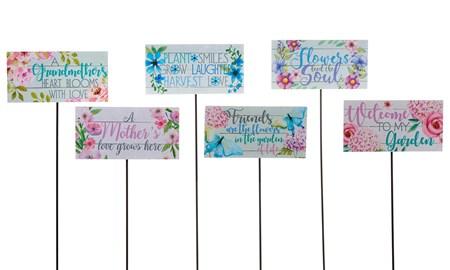 FloralPrintSentimentGardenStakes6Asst