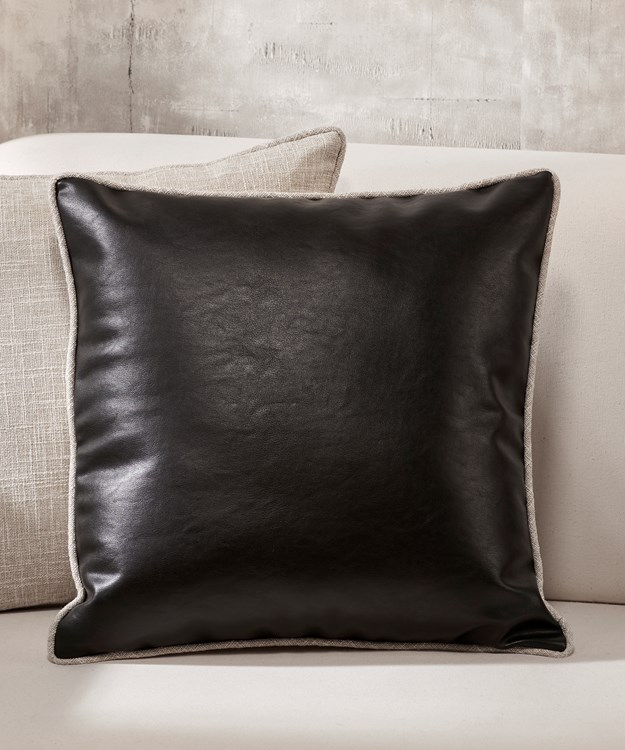 Black Faux Leather Pillow