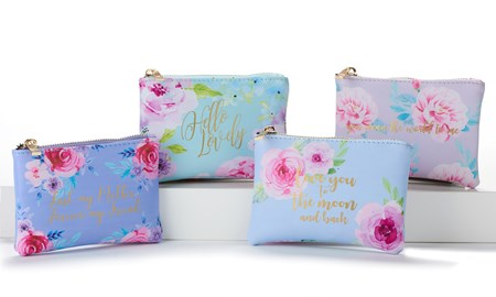 Floral Design Makeup Pouch 4 Asst., w/Displayer