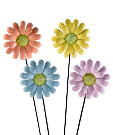 Metal Flower Stake, 4 Asst.
