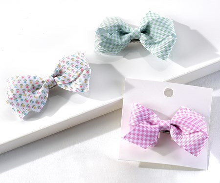 Easter Hair Bows, 6 Asst. w/Displayer