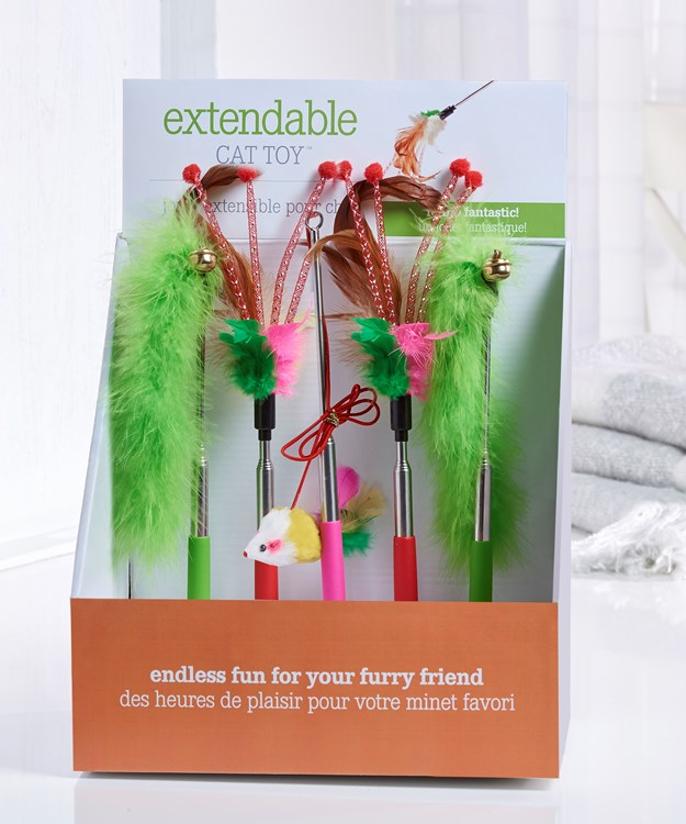 Extendable Cat Toy, 24 Pieces w/Displayer