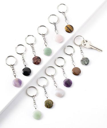 PolishedGemstoneKeyRing12AsstwDisplayer