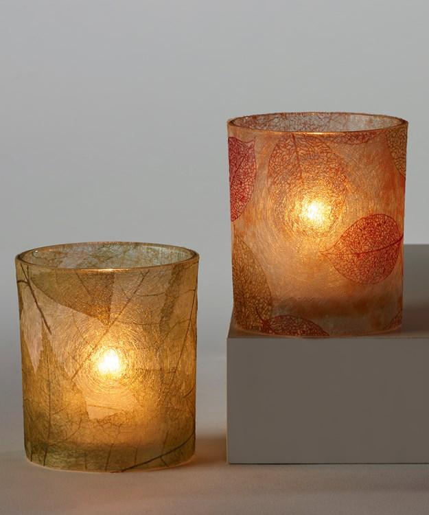 Glass Candle Holder, 2 Asst.