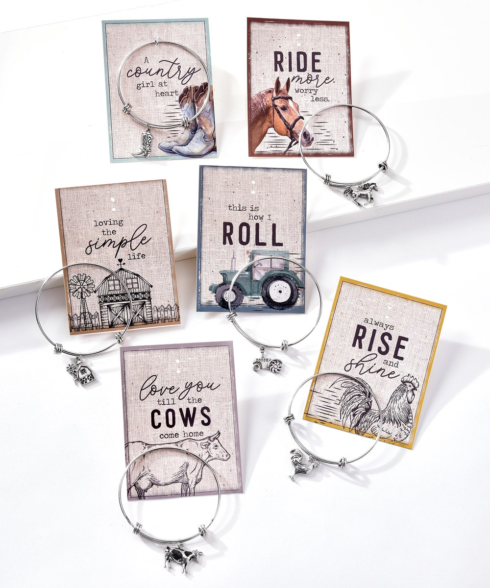 Farm Themed Metal Carded Bracelet, 6 Asst. w/Displayer