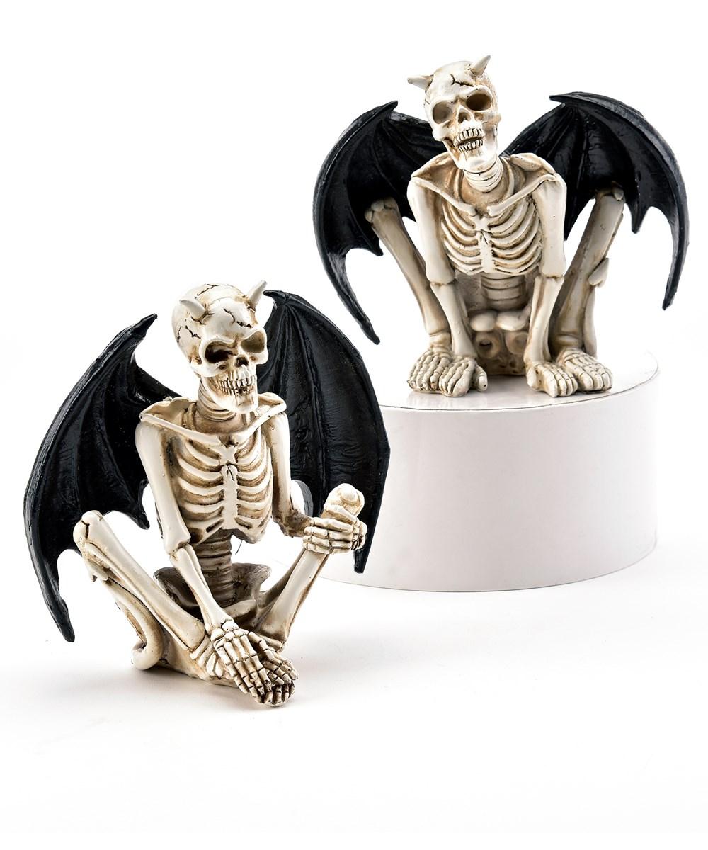 Polystone Skeleton Bat Decoration, 2 Asst.