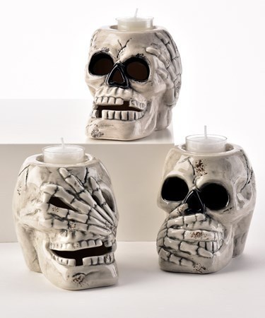 Skull Candle Holders, 3 Asst.