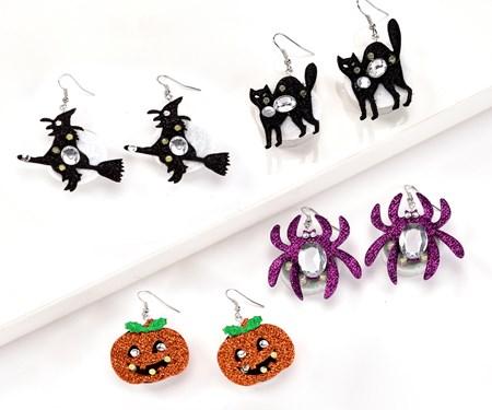 Halloween Flashing Earrings, 4 Asst.