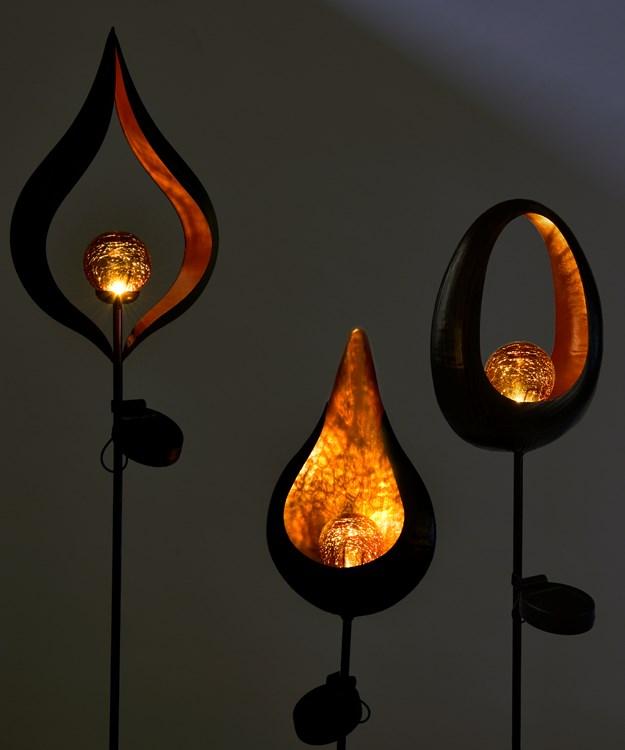 FlameSolarMetalStakeLight3Asst